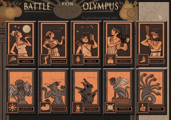 Illustrations from Reiner Knizia's game Battle for Olympus