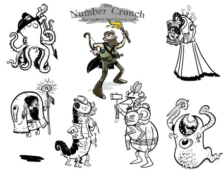 Monsters from the game The Number Crunch